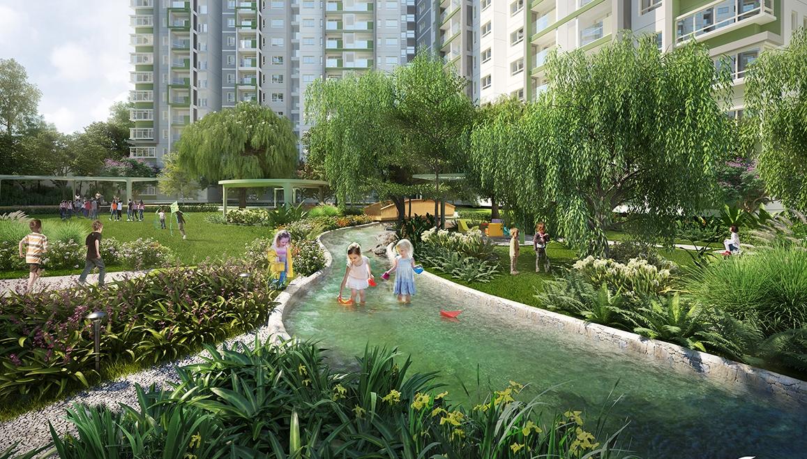 Không gian sống xanh trong khu căn hộ Emerald Precinct